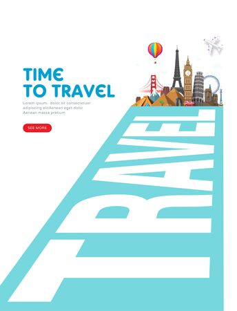 Travel and vacation concept with famous landmarks. Summer poster design. Abstract perspective road to adventure. Vector illustration
