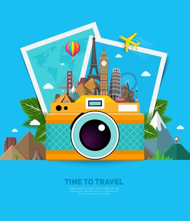 Travel and vacation concept with famous landmarks, tropical leafs, photo frames and camera. Summer poster design. Vector illustration