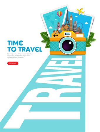 Travel and vacation concept with famous landmarks, tropical leafs, photo frames and camera. Summer poster design. Abstract perspective road to adventure. Vector illustration