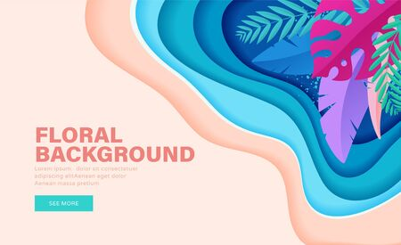 Colorful floral banner with tropical leaves for summer sales and discount. Landing page Ilustração