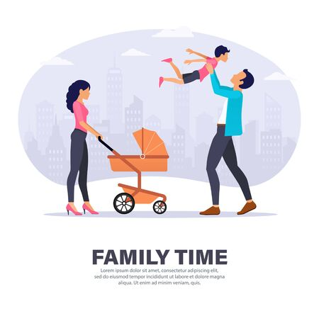 Family spend time together outdoor. Mother with baby stroller, and father playing with his son. Landing page design. Modern Vector illustration for websites