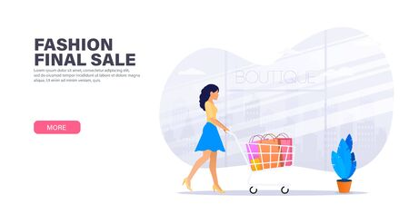 Fashionable woman shopping on the final day of discounts. Girl with multi-colored packages in shopping cart on the background of the city and glass windows. Landing page design