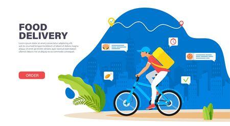 Courier on bicycle with parcel box on the back delivering food In city. Ecological fast delivery concept. Landing page design. Modern Vector illustration for websites Ilustração