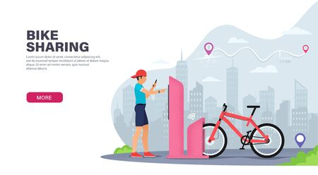 Young guy rents a bike to travel around the city. Bicycle sharing service in city. Bicycle renting station. Landing page design. Modern Vector illustration for websites