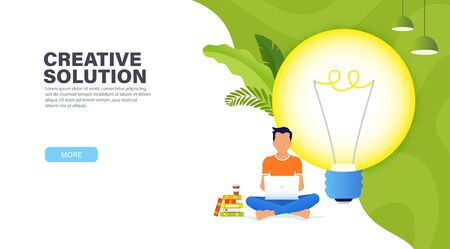 Creative solution concept. Guy sitting in a Lotus position with a laptop near the big glowing light bulb and working on a new creative idea. Time management banner. Modern landing page.