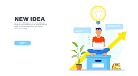 Creative solution concept. Guy sitting on a large office box in a Lotus position with a laptop and working in a relaxed atmosphere on a new creative idea. Time management banner. Modern landing page. Ilustração