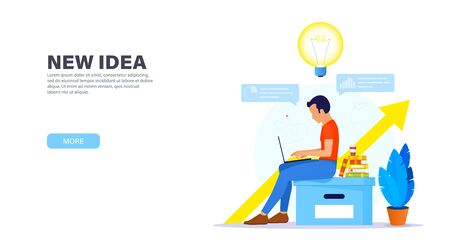 Creative solution concept. Guy sitting on a large office box with a laptop and working in a relaxed atmosphere on a new creative idea. Time management banner. Modern landing page. Ilustração
