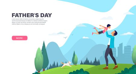 Father with his son spend time together outdoor.  Father playing with his son. Landing page design. Modern Vector illustration for websites Foto de archivo - 131301434