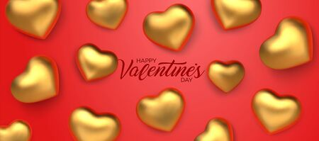 Happy Valentines Day. Awesome red background with realistic 3d glossy golden hearts. Amazing design horizontal red banner with glitter chocolate hearts in gold foil. Vector illustration