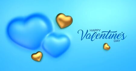 Happy Valentines Day. Awesome convex background with realistic 3d golden hearts. Amazing design horizontal blue banner with chocolate hearts in gold foil. Vector illustration Ilustrace