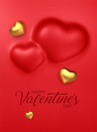 Happy Valentines Day. Awesome convex background with realistic 3d golden hearts. Amazing design vertical red banner with chocolate hearts in gold foil. Vector illustration