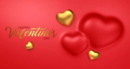 Happy Valentines Day. Awesome convex background with realistic 3d golden hearts. Amazing design horizontal red banner with chocolate hearts in gold foil. Vector illustration