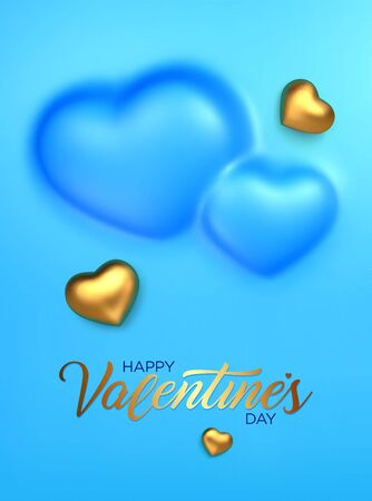 Happy Valentines Day. Awesome convex background with realistic 3d golden hearts. Amazing design vertical blue banner with chocolate hearts in gold foil. Vector illustration Ilustrace