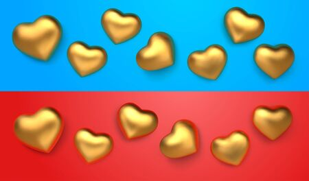 Set of amazing realistic golden hearts, isolated on red and blue background with blue and red reflex. 3d vector template for Valentines day or wedding design greeting card. Vector illustration Ilustrace