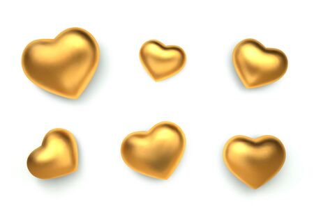 Set of amazing realistic golden hearts, isolated on white background. 3d vector template for Valentines day or wedding design greeting card. Vector illustration