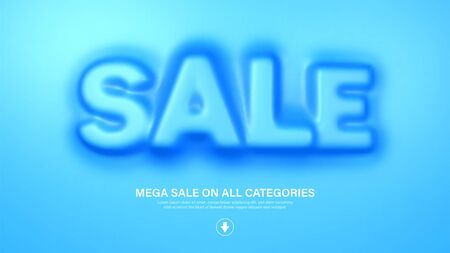 Awesome banner template with convex sale word. Amazing blue banner for sale and discount. Vector illustration Ilustrace