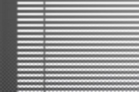 Realistic transparent drop shadow from the blinds on a wall, striped overlay effect for photo, design presentation. Vector illustration Иллюстрация