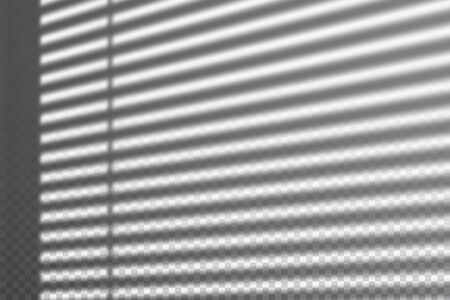 Realistic transparent drop shadow from the blinds on a wall, striped overlay effect for photo, design presentation. Vector illustration Ilustrace