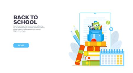 Back to school. Blue backpack with school supplies on a stack of books. Online education or ebook reading concept. Vector modern landing page.