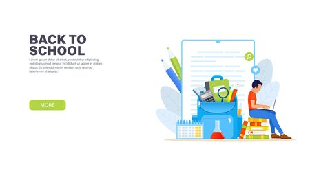 Back to school. Young man sitting with laptop on a stack of books and remotely studying online course. Blue backpack with school supplies. Online education concept. Vector modern landing page.