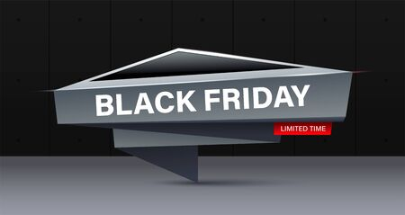 Black friday concept banner in modern style. Creative trendy design banner for black friday or cyber monday offers.