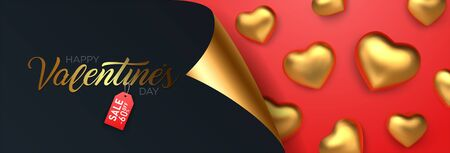 Valentines Day Sale, Discount banner with realistic golden hearts. Vector Illustration.