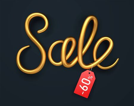Golden Sale shape with shadow and red tag. Realistic 3d text for sale and discount. Isolated Golden lettering on black background. Vector illustration