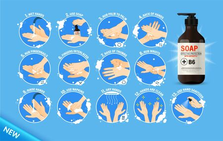 Medical instructions how to wash your hands. Step-by-step instructions how should wash your hands to stay healthy. Clean hands keep you healthy.  Soap bottle Standard-Bild - 143373446