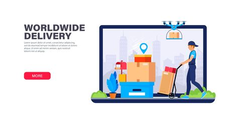 Delivery service landing page template. Courier and drone delivery different type packages. Internet shipping web banner. Transportation and logistic digital shopping. Modern flat vector illustration.