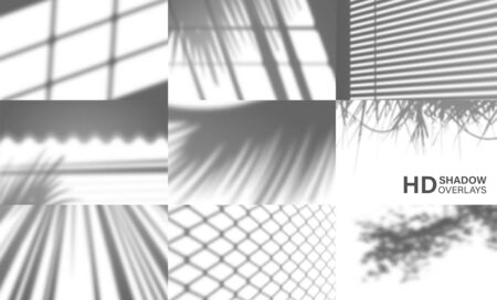 Set of organic transparent shadows for natural light effects, Vector shadow overlays for mock up presentation.