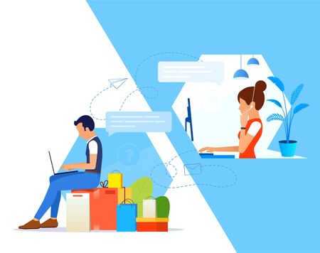 Support manager with headset remote helps a young man in solving his problem. Support service concept. Live chat operator or Online customer support service assistant. Vettoriali