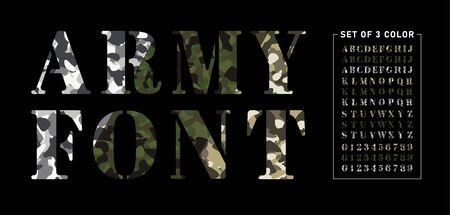 Set of army alphabets in 3 colors. Set of letter and numbers with camouflage background. Camouflage military stencil font isolated on black background. Vector illustration
