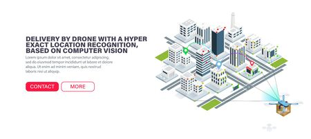 Delivery by drone with a hyper exact location recognition, based on computer vision. Accurate orientation in the city. Error-free city navigation. Isometric vector illustration 向量圖像