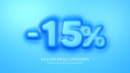 Awesome banner template with convex 15 percent symbol. Amazing blue banner for sale and discount. Vector illustration