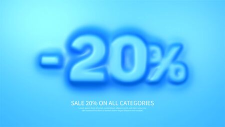 Awesome banner template with convex 20 percent symbol. Amazing blue banner for sale and discount. Vector illustration