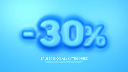 Awesome banner template with convex 30 percent symbol. Amazing blue banner for sale and discount. Vector illustration