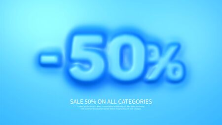 Awesome banner template with convex 50 percent symbol. Amazing blue banner for sale and discount. Vector illustration