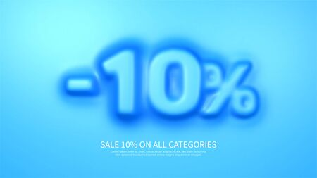 Awesome banner template with convex 10 percent symbol. Amazing blue banner for sale and discount. Vector illustration