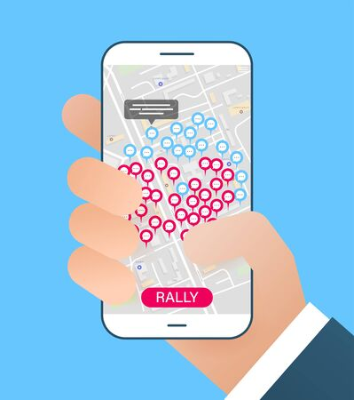 The concept of virtual meetings on the map. Comments or conversations on the map through the application. Protest or global strike over the Internet on a map. Holding smartphone in a hand.  Иллюстрация
