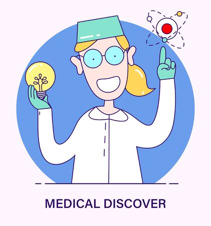Doctor scientist a discovery in the fight against the virus, flu, coronavirus, ebola, TB, Covid-19. illustration in cartoon style. Doctor have Idea how to make a vaccine for the disease
