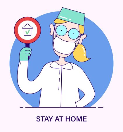 Doctor scientist holding in hand sign with a recommendation to stay at home, the concept of struggle with flu, coronavirus, ebola, TB, Covid-19. illustration in cartoon style.