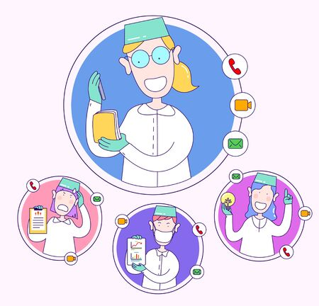 Doctors remote exchange data, statistics. Educational webinar between health workers. Concept of video consultations, online broadcasts, blogging of a medical worker. illustration in cartoon style.