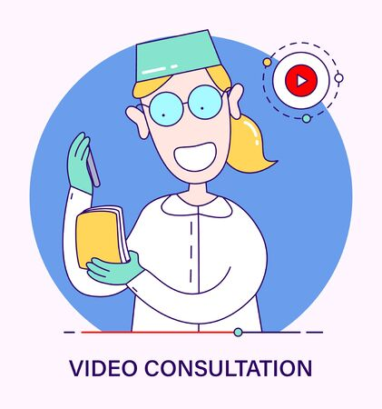 Doctor scientist gives remote video advice. Concept of video consultations, online broadcasts, blogging of a medical worker. illustration in cartoon style.