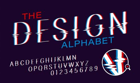 Glitch font set. Vector alphabet with glitch effect. Temporary interference. illustration on dark background