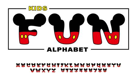 Cute kids alphabets and font with ears looks like mouse. Isolated English letters and numbers. Vector illustration  向量圖像