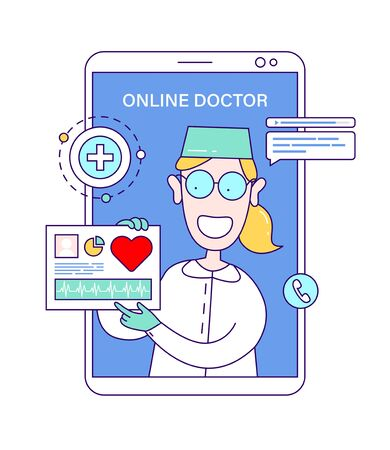 Online doctor concept in cartoon style. Providing online medical advice. Ask doctor, remote consultation service, telemedicine, cardiology. 向量圖像