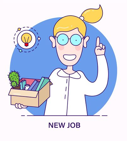 New job offer. Concept in flat cartoon style. Successful smiling woman with box and her things got a new job. woman received a good offer for a new vacancy during the crisis.  イラスト・ベクター素材