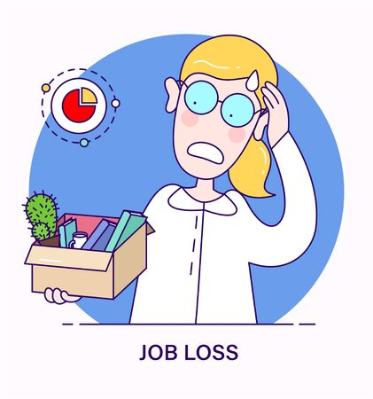 Job loss concept in flat cartoon style. Dismissed sad person carrying box with her things. Woman lost her job during the crisis. Dismissal, Unemployment, jobless and employee job reduction.
