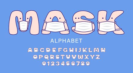 Cute cartoon alphabet in white medical masks for kids. Set of letters and numbers in medical masks for children. Vector illustration