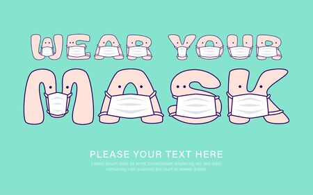 Turquoise banner with cute letters in medical masks and a call to wear masks. Vector illustration for children in cartoon style